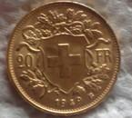 20 francs or de suisse échangée