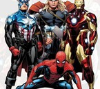 Spider-Man with Captain America, Thor & Iron Man