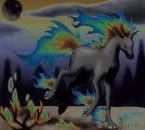 Galopa gris avec les couleurs de l'arc-en-ciel