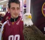 Hockey club Genève Servette surnommé les aigles avec Sherkan leur mascotte