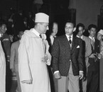 King Mohammed V having a talk with his son