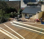 chantier de 12h pose d'escalier plus terrasse
