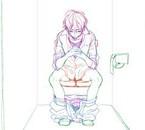 """Dans """"kinoby no ohayo"""" lorsqu'il réfléchis...aux toilettes"""