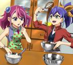 Yuzu/Yuko/Natsumi et Serena/Yuka/Aki en cuisine