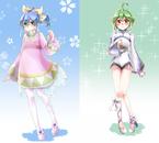 Hiragi Yuzu/Natsuna Natsumi et leur doubles en kimono/robe