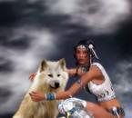 indienne et son loup