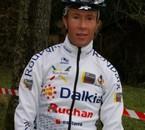 Clément avec le maillot de sa New equipe le VC ROUBAIX