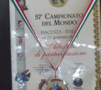 Medaille d'argent championat du monde Piacenza Italie