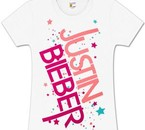 Justin Bieber Star Logo Girls Fitted White T-Shirt