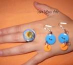 boucle d'oreille bouton et sa bague assortie(réf:d11,ba10)
