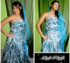 caftans bleu/argenté avec ou sans ceinture