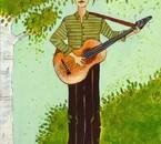 Guitariste dans la verdure (tableau d'Anne-Soline, ma fille)