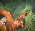 Illustration à la gouache sur carton: l'oiseau et son berger