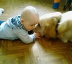 voici mon fils luckas fan de mon chien saf