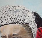 gros plan sur la coiffe  de la reine des cornouailles  acril