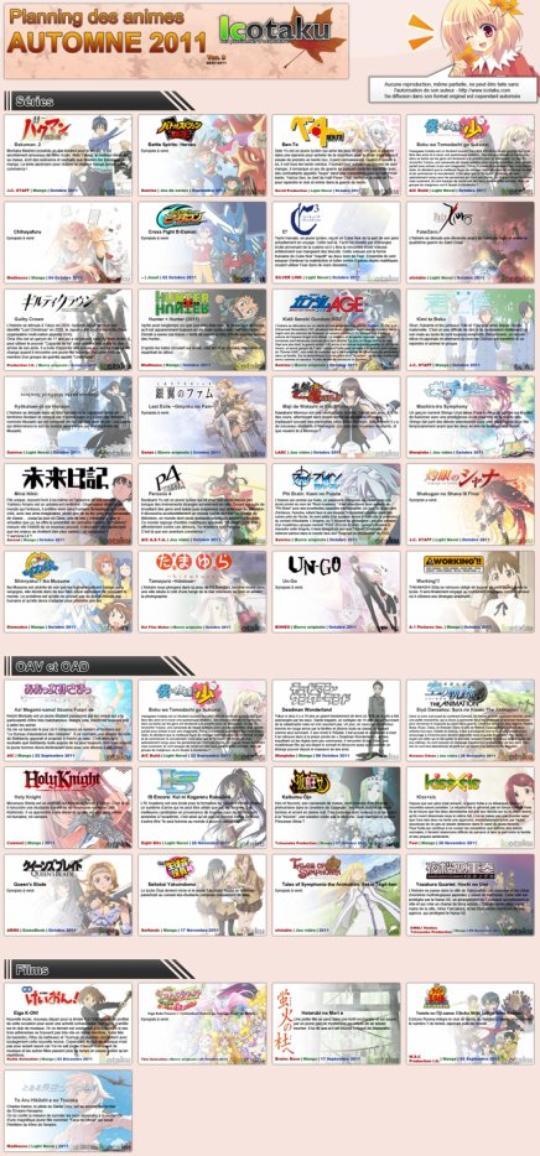 Les animes automne 2011