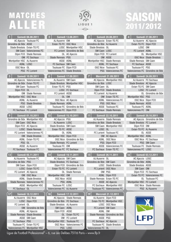 Calendrier des matchs de Ligue 1 Saison 2011 2012