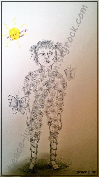 >Enchaînée par les fleurs, butinée par les papillons, envahie de soleil et pourtant je ne ressens que de la tristesse<