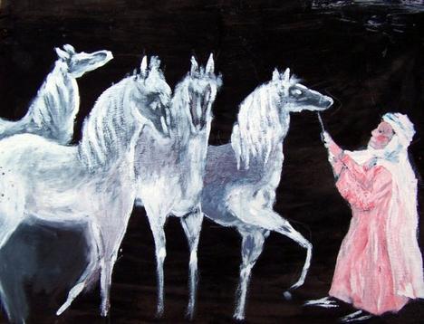 LES CHEVEAUX AU CLAIR DE LUNE ( peinture a l'huile sur bois 60/75)