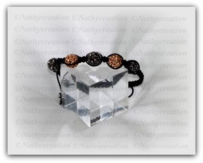 Bracelet marron et gris Perles strass Swarovski