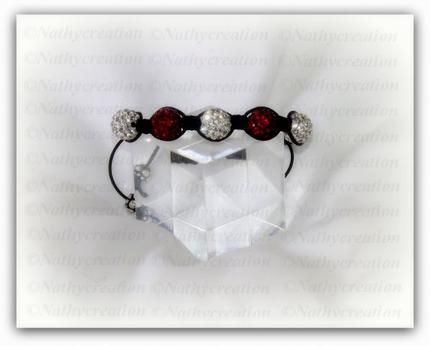 Bracelet rouge et blanc Perles strass Swarovski