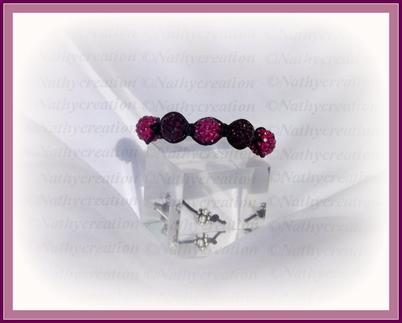 Bracelet rose et violet strass