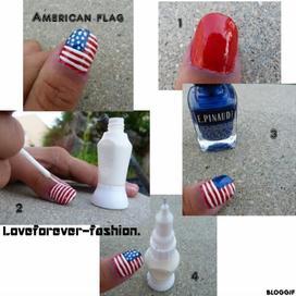 American flag ,nail art.