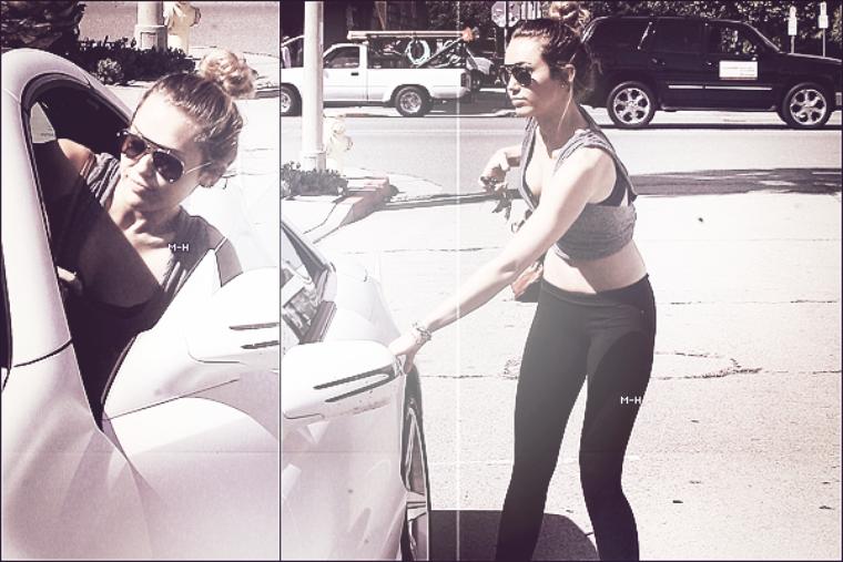 04/04/12 : Miley promenant son chien Floyd à Ventura Boulevard à Los Angeles.