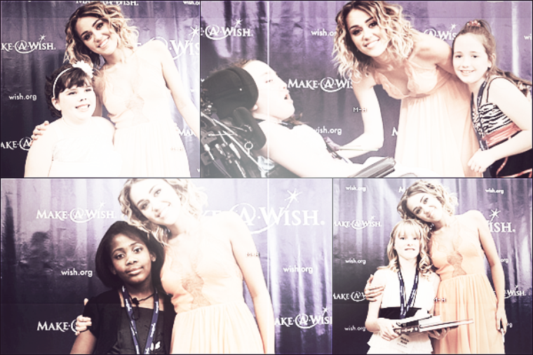 24/04/12 : Miley posant avec des enfants de Make A Wish Foundation à Phoenix.