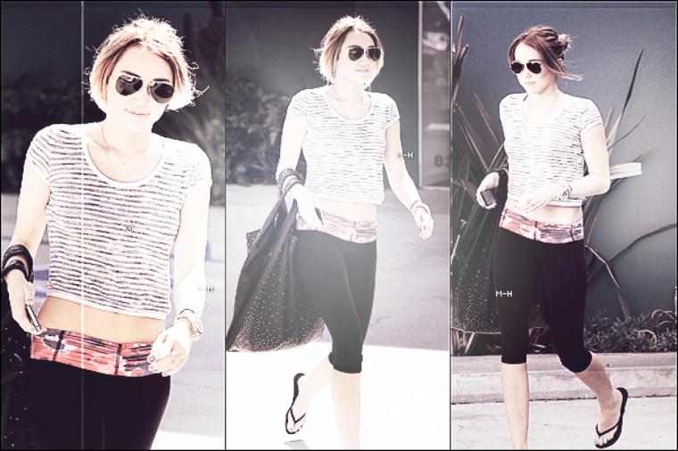 27/04/12 : Miley sortant de nouveau de son cours de pilate à West Hollywood.