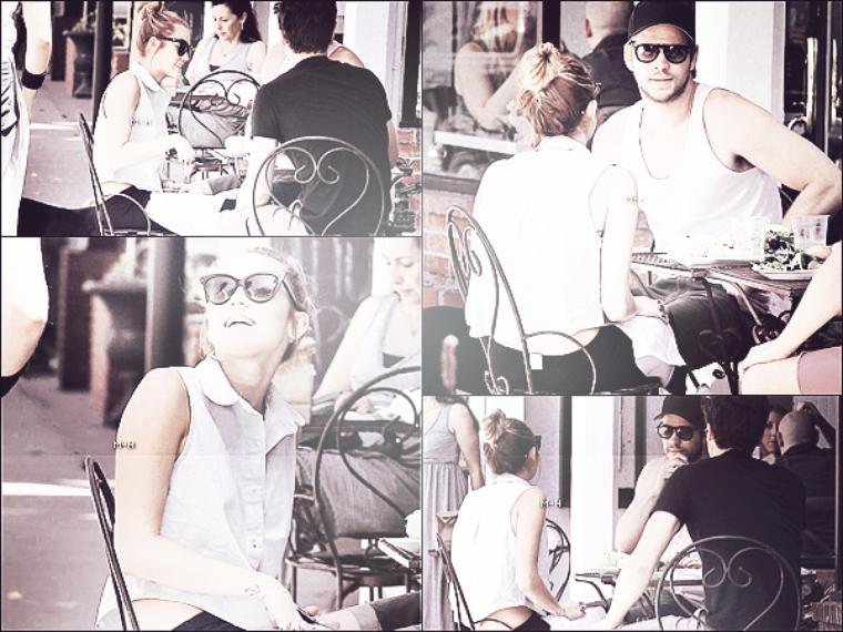 12/05/12 : Miley et Liam allant déjeuner avec leur nouveau chien Mary Jane à Studio City.