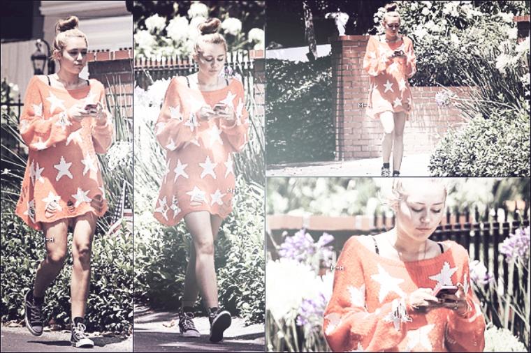 05/07/12 : Miley se promenant dans les rues de Toluca Lake. Un bon flop !