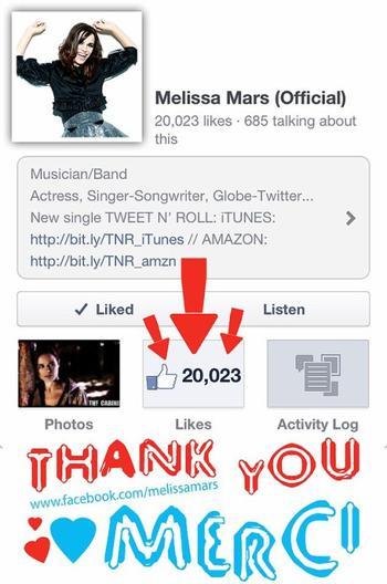 2013 Jan 28 - 20 000 Likers sur la page FaceBook de Melissa Mars