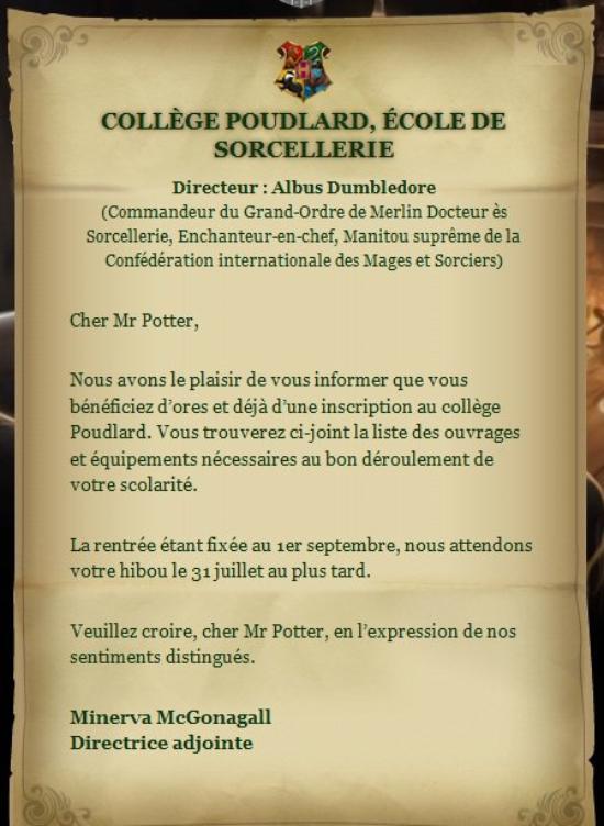 La lettre donnée à Harry Par Hagrid  ( originalle )