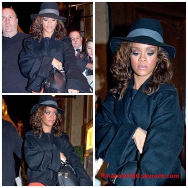 Rihanna de retour dans son hôtel a Paris