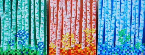 LES BOULEAUX toiles de même dimenssions, a mettre en place, en quinconce, en espaliers, l'un sous l'autre, etc...
