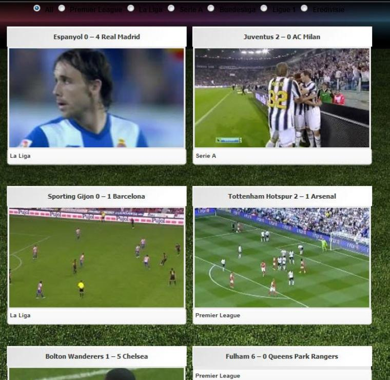 Rediffusions d'un grand nombres de buts de plusieurs ligues de football !!