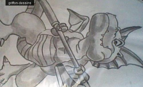 "Dessin Dragon Quest ""dragon guerrier"""