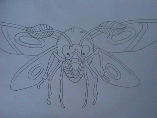 """Début du dessin Dragon Quest """"papillon de nuit"""""""