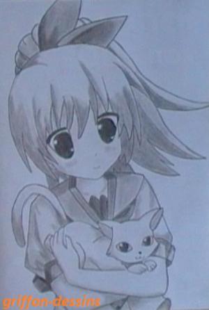 "Dessin manga""avec son chat"""