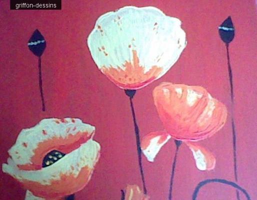 """Première peinture sur toile""""fleur abstraite"""""""