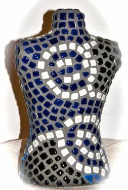 Buste en mosaique de verre bleu