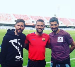 Lionel Messi avec Luis Suarez & Benjamin