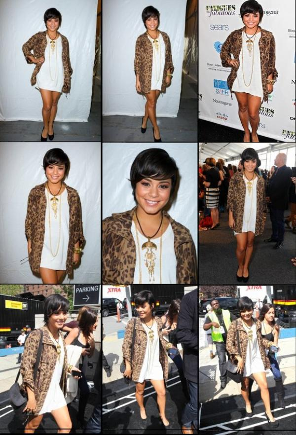 Thursday, September 8th ; Vanessa toute souriante fabuleux événement organisé pendant la Fashion Week Mercedes-Benz au Lincoln Center à New York.