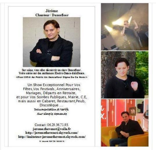 Photo  Flyer spécial Facebook de Jérôme Thévenot  Chanteur , imitateur . .