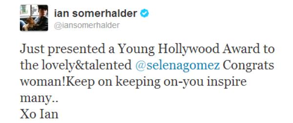 Selena et Ian Somerhalder .