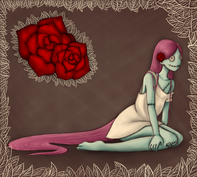 Un zombie au milieu des roses