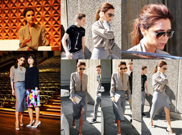 28 Avril 2013 : Victoria Beckham au Vogue Festival à Londres ! LOOK - Victoria porte une création de sa dernière collection AW/13, des escarpins Casadei et accessoirises cela avec une pochette Victoria Beckham SS/13 et une paire de lunettes de soleil. TOP/BOF/FLOP ?