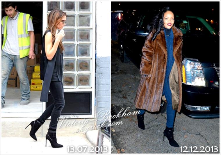 FASHION POLICE Vu le peu de news de Victoria, je vous propose une nouvelle rubrique, la Fashion Police ! Aujourd'hui, c'est Victoria et Rihanna qui ont optaient pour les mêmes bottines à talons haut agrémentée d'un ruban Saint Laurent à 725 ¤. Selon vous, quelle fashionista porte le mieux ces bottines ?