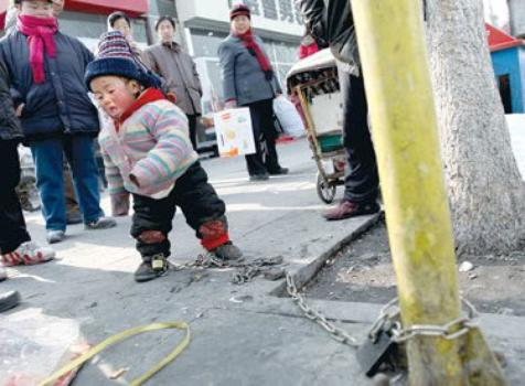 Little Jingdan chained in a street in Beijing ...